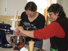 Jo and Sarah making sausage
