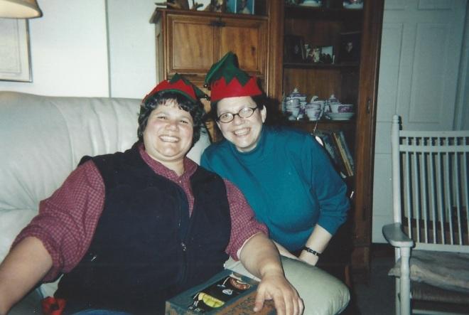Sarah and Abby as Christmas elves