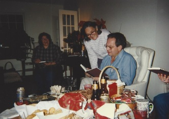 Gifting the first edition of Harrisville Heritage, 1996