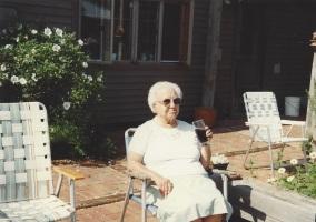 Mimi enjoying the patio in Harrisville