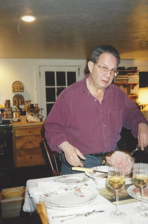 Len carving the roast in Harrisville
