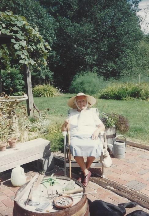 Mimi on the patio in Harrisville