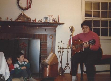 Sarah sings the Candy Bar song to Chris and Matt
