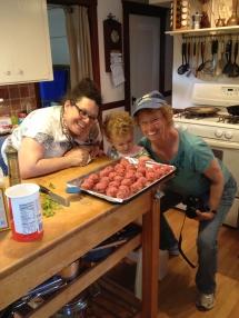 Farina meatballs in the making