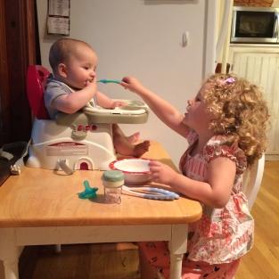 Anna feeding Andrew