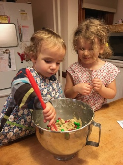 Making cookies with Andrew and Anna