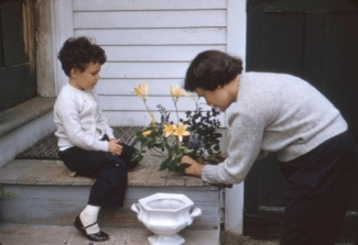 Abby and Connie arranging flowers